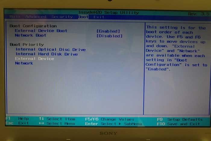索尼笔记本u盘装系统bios设置