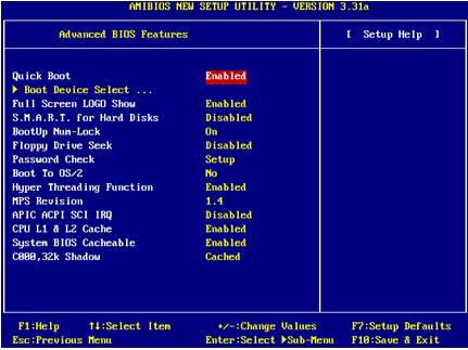 微星主板BIOS设置-高级BIOS特性设置