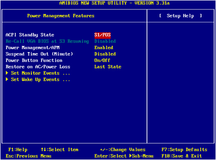 微星主板bios设置-电源管理设置