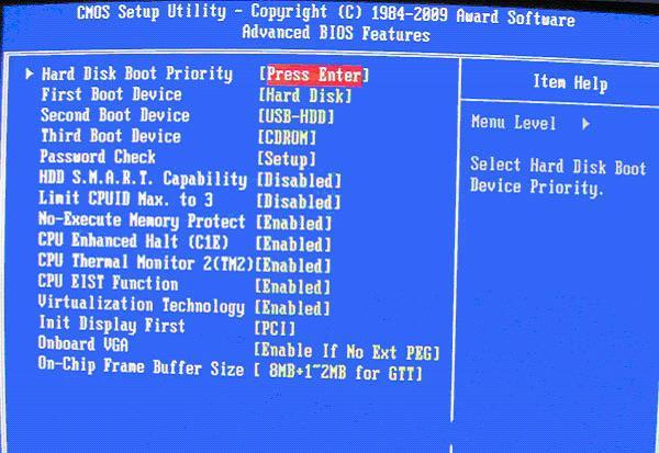 选择硬盘启动